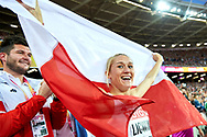 Great Britain, London - 2017 August 12: Kamila Licwinko (Podlasie Bialystok) of Poland with her trainer coach and husband Michal Licwinko celebrate bronze medal in women's high jump final during IAAF World Championships London 2017 Day 9 at London Stadium on August 12, 2017 in London, Great Britain.<br /> <br /> Mandatory credit:<br /> Photo by © Adam Nurkiewicz<br /> <br /> Adam Nurkiewicz declares that he has no rights to the image of people at the photographs of his authorship.<br /> <br /> Picture also available in RAW (NEF) or TIFF format on special request.<br /> <br /> Any editorial, commercial or promotional use requires written permission from the author of image.