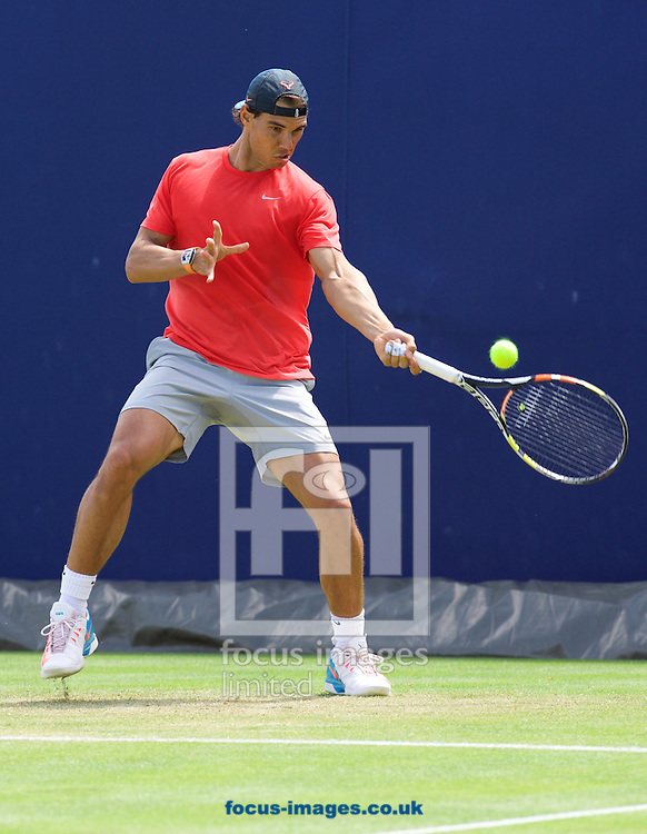 Rafael Nadal (ESP) practicing on day one of the Aegon Championships at the Queen's Club, West Kensington<br /> Picture by Alan Stanford/Focus Images Ltd +44 7915 056117<br /> 15/06/2015