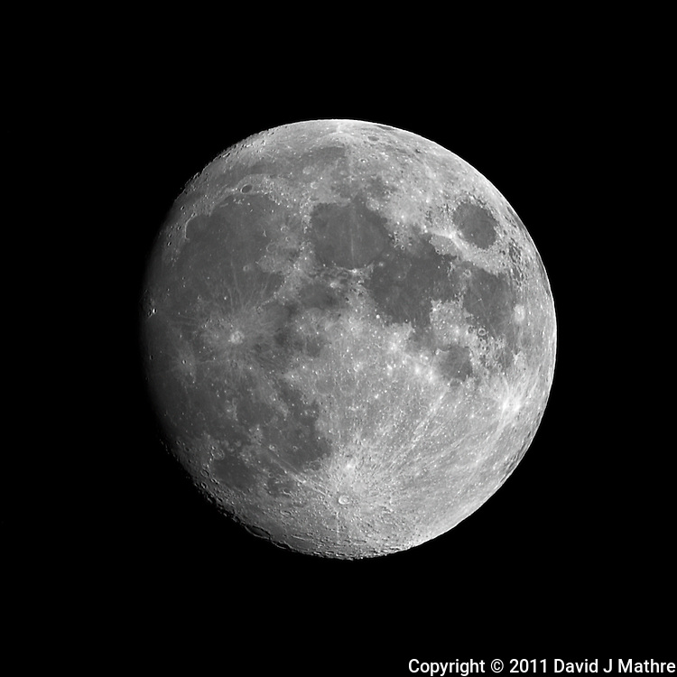 Waxing Gibbous Moon (85%). Summer Night in New Jersey. Image taken with a Nikon D3s and 600 mm f/4 VR lens + TC-E III 20 teleconverter (ISO 200, 1200 mm, f/16, 1/50 sec). Raw image processed with Capture One Pro 6, Nik Define 2, and Photoshop CS5