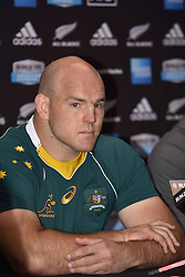 October 21, 2016 - Auckland, New Zealand - Australia captain Steven Moore speaks to the media after the Australia Wallabies captain's run at Eden Park on October 21, 2016 in Auckland, New Zealand, ahead of the Third Bledisloe Cup test match against New Zealand on Oct 22. (Credit Image: © Shirley Kwok/Pacific Press via ZUMA Wire)