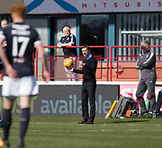 1st April 2018, Dens Park, Dundee, Scotland; Scottish Premier League football, Dundee versus Heart of Midlothian; Dundee manager Neil McCann