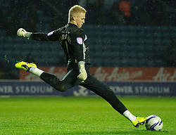 Leicester Goalkeeper Kasper Schmeichel (DEN) clears during the second half of the match - Photo mandatory by-line: Rogan Thomson/JMP - Tel: Mobile: 07966 386802 18/01/2013 - SPORT - FOOTBALL - King Power Stadium - Leicester. Leicester City v Middlesbrough - npower Championship.