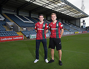 Paul McGinn and Greg Stewart wear Dundee's Black Watch inspired 3rd kit ahead of the home match against Ross County - Dundee will wear the kit for the first time to commemorate the 100th Anniversary of the Battle of Loos, during which hundreds of Black Watch soldiers died<br /> <br />  - &copy; David Young - www.davidyoungphoto.co.uk - email: davidyoungphoto@gmail.com
