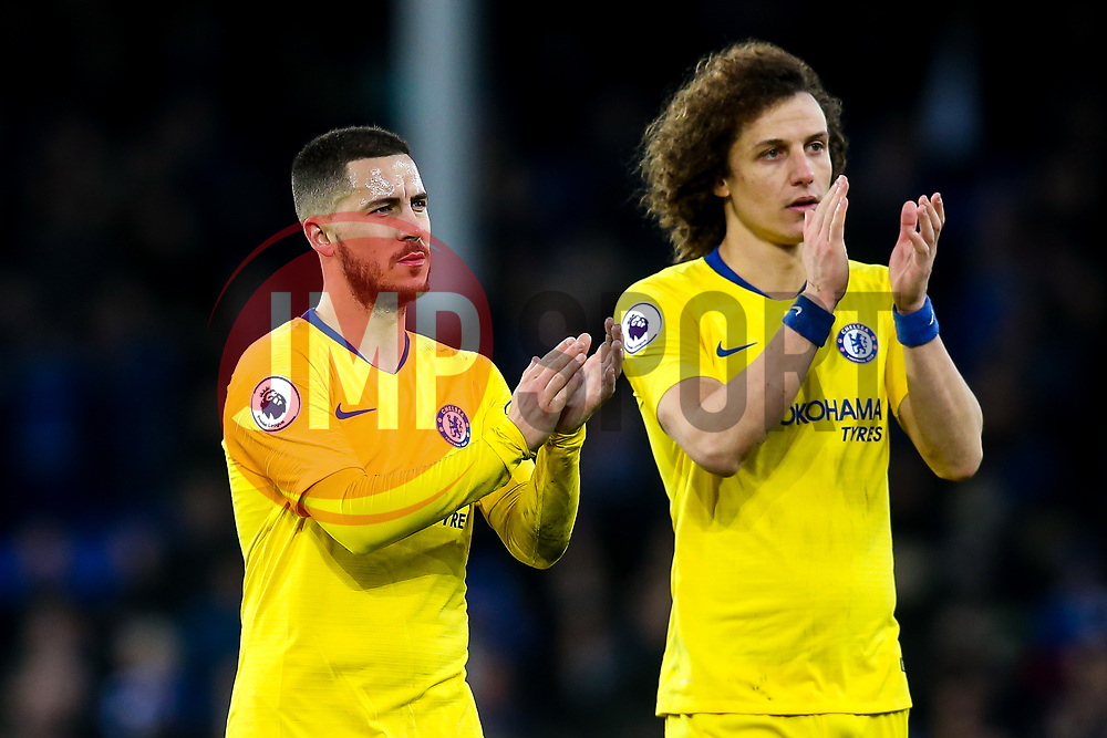 Eden Hazard of Chelsea and David Luiz of Chelsea - Mandatory by-line: Robbie Stephenson/JMP - 17/03/2019 - FOOTBALL - Goodison Park - Liverpool, England - Everton v Chelsea - Premier League