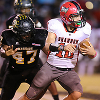 Shannon quarterback Jordan Gulleylen pu the Red Raiders on the board in the first half but they failed on their two point conversion and found themselves behind 7-6 at the half against Pontotoc.