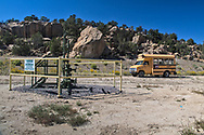School bus Don Schreiber uses on his ranch in Blanco, New Mexico to take visitors around.<br /> The Schreiber's own over 400 acres and lease hundreds more from the BLM. They do not own their mineral rights so they are have to contend with the drllling on their  land. They successfully took on industry and the BLM, persuading them to twin existing drill sites instead of drilling hundreds of new ones.