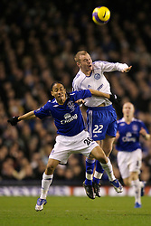 Liverpool, England - Wednesday, December 5, 2007: Everton's Steven Pienaar and Zenit St. Petersburg's Aleksandr Anyukov during the UEFA Cup Group A match at Goodison Park. (Photo by David Rawcliffe/Propaganda)