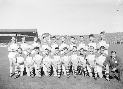 All Ireland Senior Football Championship Final, 24.09.1961, 09.24.1961, 24th September 1961, Down 3-6 Offaly 2-8, 24091961AISFCF,..Offaly Team (runners up).Back row (from left) Greg Hughes, Peter Dunne, Mick Casey, Charlie Wren, Phil O'Reilly, Sean Ryan, Mick Brady, Frank HIggins, Frank Weir, Sean Foran. Front row (from left) Larry Fox, Donie O'Hanlon, Har Donnelly, Tommy Greene, Willie Nolan, Tommy Cullen, Peter Daly, Sean Brereton, Paddy McCormick, Johnny Egan, Peter O'Reilly (trainer). .Subs: K. O'Neill for P. Rice; Rice for G. Lavery