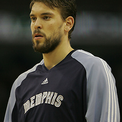 Jan 20, 2010; New Orleans, LA, USA; Memphis Grizzlies center Marc Gasol during warm ups at the New Orleans Arena. The Hornets defeated the Grizzlies 113-111. Mandatory Credit: Derick E. Hingle-US PRESSWIRE