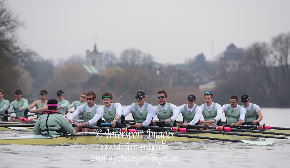 London, Great Britain, Cambridge &quot;Listo&quot; trailing in Fuete as the crews approach &quot;Chiswick Eyot&quot; during the  The BNY Mellon Men's Boat Race, Trail Eights Championship Course. Tideway Week, Putney to Mortlake. ENGLAND. <br /> <br /> Sunday 13.12.2015<br /> <br /> [Mandatory Credit; Peter Spurrier/Intersport-images]<br /> <br /> CUBC Trial VIII's between FUERTE on Surrey and LISTO on Middlesex<br /> <br /> FUERTE, Bow, Peter Carey, 2, Patrick Elwood, 3, Alister Taylor, 4, Peter Rees, 5, Charlie Fisher, 6, Ali Abbasi, 7, Luke Juckett, Stroke, Lance Tredell, Cox, Ian Middleton<br /> <br /> LISTO, Bow, Piers Kasas, Felix Newman, 3, Sam Ringer, 4, Joe Carroll, 5, Clemens Auersperg, 6, Vincent Bertram, 7, Henry Hoffstot, Stroke, Ben Ruble, Cox, Hugo Ramambason