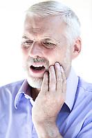 caucasian senior man portrait  toothache pain isolated studio on white background