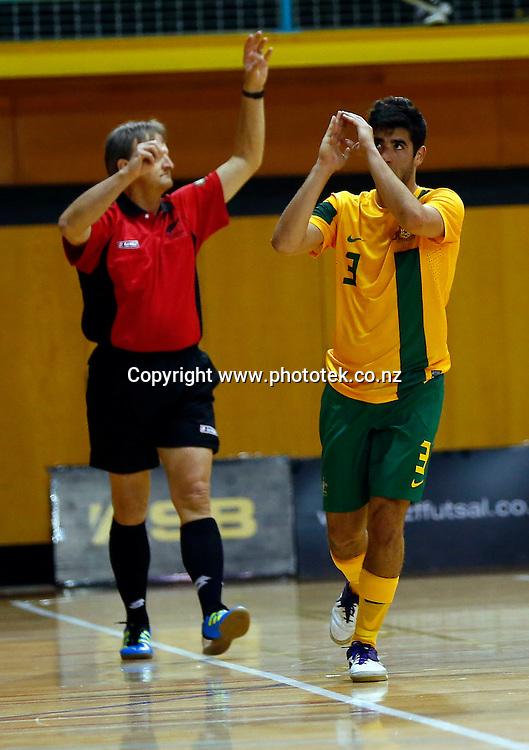 Futsal Roos Jarrod Basger celebrates his goal. ASB Trans Tasman Cup, Futsal Whites v Futsal Roos, ASB Stadium, Kohimarama, Friday 21st September 2012. Photo: Shane Wenzlick
