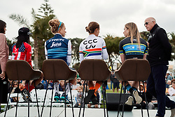Riders in a Q & A session with the crowd at Amgen Tour of California Women's Race empowered with SRAM 2019 - Team Presentation in Ventura, United States on May 15, 2019. Photo by Sean Robinson/velofocus.com