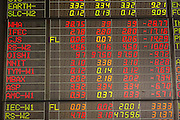 """02 SEPTEMBER 2013 - BANGKOK, THAILAND:  Stock """"losers"""" on the stock ticker at Asia Plus Securities headquarters in central Bangkok. The Thai stock market has declined more than 20% from its 2013 high as data as Thailand entered a recession in the second quarter. The loss of value in the Stock Exchange of Thailand (SET) is the greatest sell off since the end of the Asian financial crisis in 1998. Foreign investors have sold more than $1 billion of local shares this month amid signs of slowing regional economic growth and speculation that the U.S. Federal Reserve will soon cut its stimulus.     PHOTO BY JACK KURTZ"""