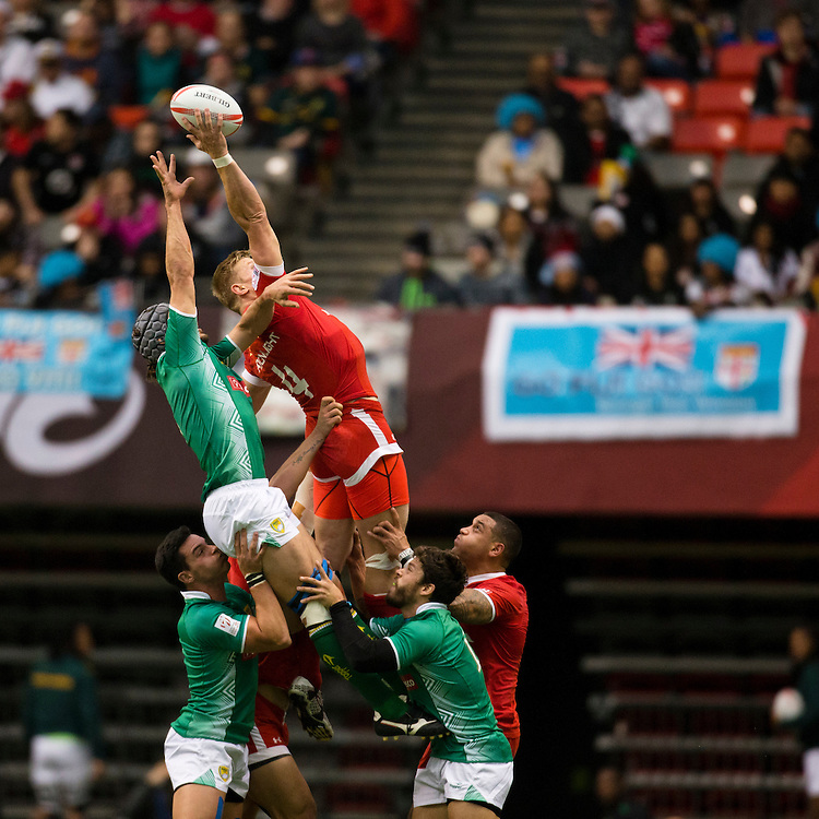 John Moonlight of Canada plays Brazil at the HSBC Sevens World Series XVII Round 6 at B.C. Place Stadium in Vancouver British Columbia on March 13, 2016. Canada beat Brazil 19-0. (KevinLight/CBCSports)