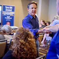 New Mexico gubernatorial candidate Jeff Apodaca greets supporters during a campaign stop at the Hilton Garden Inn in Gallup Tuesday.