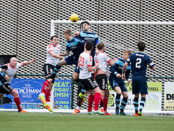 Clyde's David Gormley (9) scoring their second goal. Clyde 2 v 2 Forfar Athletic, Scottish League Two game played 4/3/2017 at Clyde's home ground, Broadwood Stadium, Cumbernauld.