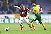 Burnley forward Matěj Vydra (27) challenged by Norwich City defender Grant Hanley (5)  during the The FA Cup match between Burnley and Norwich City at Turf Moor, Burnley, England on 25 January 2020.