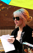 Taylor Momsen walks to the set of Gossip Girl while taping on the Upper East Side in New York City on November 12, 2009.