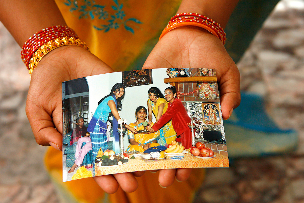 "Shanta celebrated an Indian puberty rite to acknowledge her transition from childhood to adulthood. Among other presents, Hareesh received her first sari and a gold and ruby bracelette from her grandmother, which is a family heirloom. ""I get to pass this bracelet onto my children,"" says Hareesh."