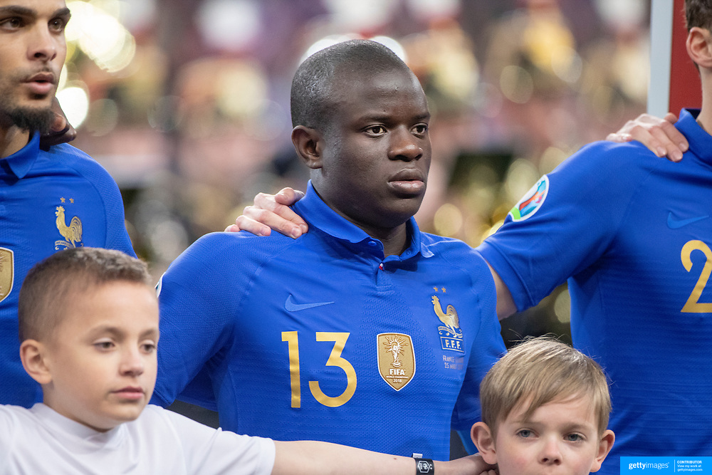 PARIS, FRANCE - March 25: Ngolo Kanté #13 of France lines up with the French team during the National Anthems before the France V Iceland, 2020 European Championship Qualifying, Group Stage at  Stade de France on March 25th 2019 in Paris, France (Photo by Tim Clayton/Corbis via Getty Images)