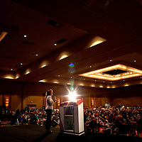 ORLANDO, FL -- September 22, 2011 -- Republican presidential candidate Congresswoman Michele Bachmann speaks during the Florida P5 Faith and Freedom Coalition Kick-Off at the Rosen Centre Hotel in Orlando, Fla., on Thursday, September 22, 2011.  Nine Republican presidential candidates congregated for a Fox News / Google Debate.   (Chip Litherland for The New York Times)