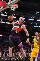 12 February 2013: Center (4) Marcin Gortat of the Phoenix Suns dunks the ball against the Los Angeles Lakers during the first half of the Lakers 91-85 victory over the Suns at the STAPLES Center in Los Angeles, CA.