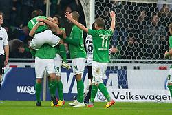 10.12.2011, Weser Stadion, Bremen, GER, 1.FBL, Werder Bremen vs VFL Wolfsburg, im Bild1 zu 0 Sokratis (Bremen #22) ( 1, Tor für Bremen von ihm ) Jubel mit Aleksandar Ignjovski (Bremen #17) Claudio Pizarro (Bremen #24) Naldo (Bremen #4) Markus Rosenberg (Bremen #11). // during the Match GER, 1.FBL, Werder Bremen vs VFL Wolfsburg, Weser Stadion, Bremen, Germany, on 2011/12/10.EXPA Pictures © 2011, PhotoCredit: EXPA/ nph/ Kokenge..***** ATTENTION - OUT OF GER, CRO *****