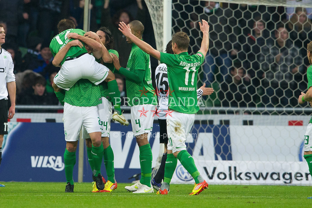 10.12.2011, Weser Stadion, Bremen, GER, 1.FBL, Werder Bremen vs VFL Wolfsburg, im Bild1 zu 0 Sokratis (Bremen #22) ( 1, Tor für Bremen von ihm ) Jubel mit Aleksandar Ignjovski (Bremen #17) Claudio Pizarro (Bremen #24) Naldo (Bremen #4) Markus Rosenberg (Bremen #11). // during the Match GER, 1.FBL, Werder Bremen vs VFL Wolfsburg, Weser Stadion, Bremen, Germany, on 2011/12/10.EXPA Pictures © 2011, PhotoCredit: EXPA/ nph/ Kokenge..***** ATTENTION - OUT OF GER, CRO *****