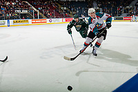 KELOWNA, CANADA - FEBRUARY 15:  Kaedan Korczak #6 of the Kelowna Rockets passes the puck away from Gage Goncalves #39 of the Everett Silvertips during first period on February 15, 2019 at Prospera Place in Kelowna, British Columbia, Canada.  (Photo by Marissa Baecker/Shoot the Breeze)