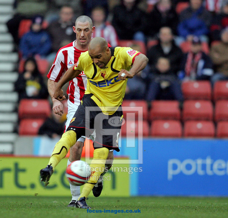 Stoke - Sunday, December 9th, 2007: Marlon King of Watford shoots during the Coca Cola Championship match at The Brittania Stadium, Stoke. (Pic by Paul Hollands/Focus Images)
