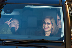 © Licensed to London News Pictures. 04/03/2016. London, UK.  Chloe (left)  and Grace (far right), Daughters of Rupert Murdoch lave the home of Rupert Murdoch ahead of rupert Murdoch's wedding to Jerry Hall at Spencer House on February 04, 2016. The couple, who announced their engagement in January, had a private ceremony today, with a public service expected at Fleet Street's St Bride's Church on Saturday. Photo credit: Ben Cawthra/LNP