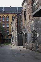 Old building facade in Kazimierz Krakow Poland