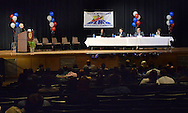 UPPER MORELAND, PA - MAY 14:  From left, moderator Larry Kane poses a question to the panel which included Valerie Arkoosh, Brendan Boyle, Daylin Leach and Marjorie Margolies during a 13th Congressional District Democratic Debate May 14, 2014 at Upper Moreland high school in Upper Moreland, Pennsylvania. The Pennsylvania democratic primary is May 20.(Photo by William Thomas Cain/Cain Images)