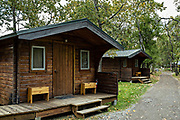 Katmailand guest cabins at Brooks Camp in Katmai National Park and Preserve September 16, 2019 near King Salmon, Alaska. The park spans the worlds largest salmon run with nearly 62 million salmon migrating through the streams which feeds some of the largest bears in the world.