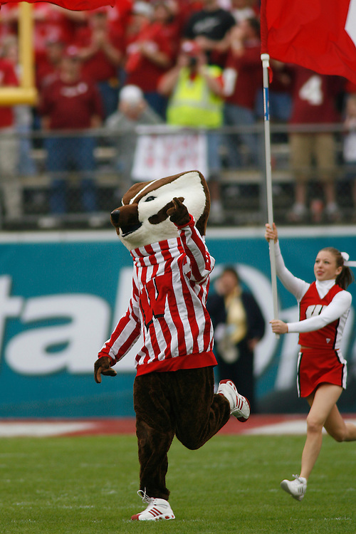 University of Wisconsin mascot Bucky Badger runs onto the field before the Wisconsin Badgers 17-14 victory over the Arkansas Razorbacks in the Capital One Bowl at the Florida Citrus Bowl Stadium in Orlando, Florida on January 1, 2007.