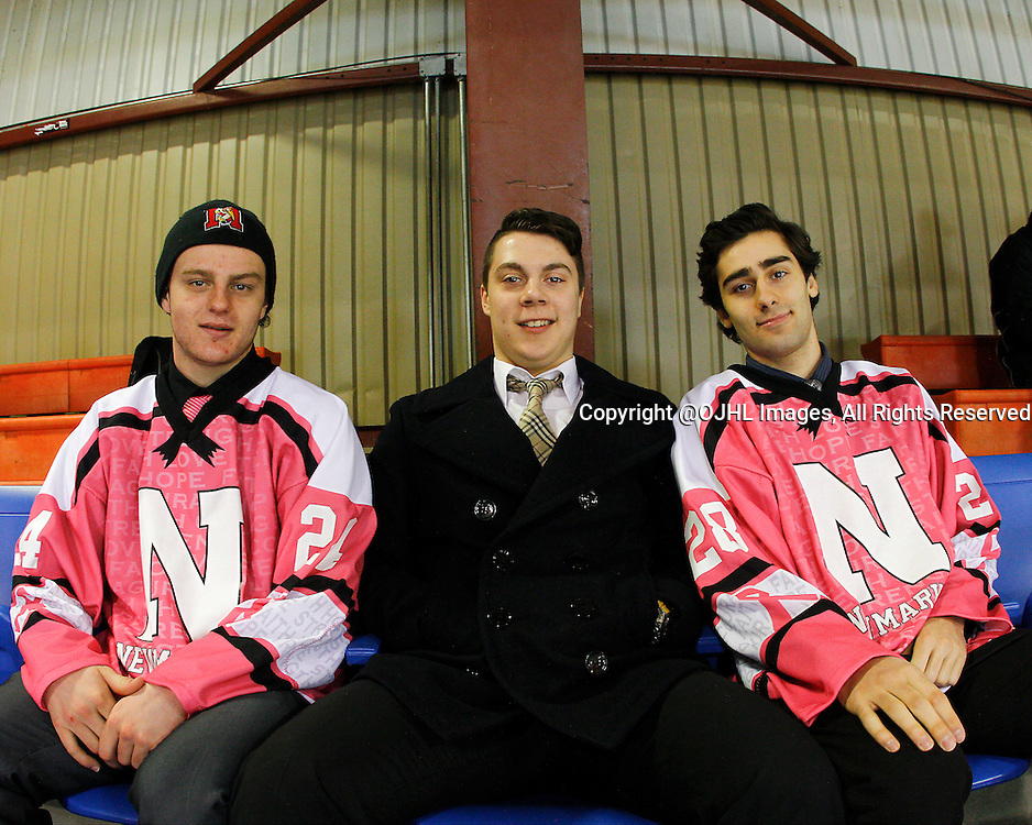 NEWMARKET, ON - Feb 15, 2015 : Ontario Junior Hockey League game action between Aurora and Newmarket, Brett Thomson #24, Christian Bortoluzzi #2 and Anthony Salemi #28.<br /> (Photo by Brian Watts / OJHL Images)