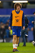 Chelsea defender David Luiz (30) warms up before the EFL Cup semi final second leg match between Chelsea and Tottenham Hotspur at Stamford Bridge, London, England on 24 January 2019.