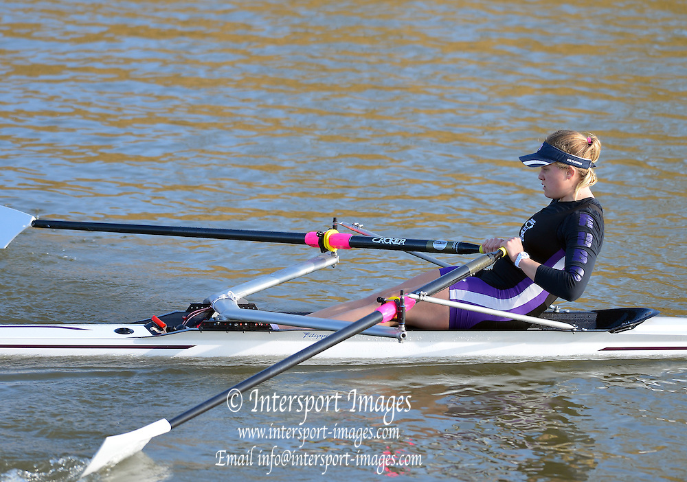 Boston, Great Britain. Women's Single Scull GBR W1X . Caragh McMURTRY,  compete's in the 2013 GBRowing second assessment, Boston Rowing Club, River Witham, Lincolnshire.    Saturday  09/02/2013   [Mandatory Credit. Peter Spurrier/Intersport Images]