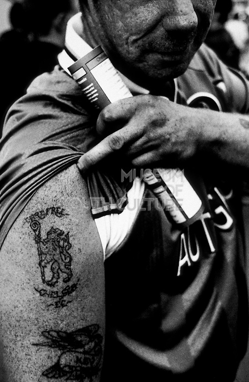Close-up of a tattoo, Football supporters, Chelsea Football Club, London, U.K, Season 1998/1999.