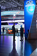 New York, NY, USA-23 March 2016. Two men having a discussion in the Hyundai display at the New York Auto how. Hyundai introduced its Ioniq line of electric and hybrid cars at the show.