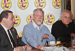 © Licensed to London News Pictures. 23/04/2012. London, U.K..(L-R) David Coburn, London Chairman, UKIP, Richard, Earl of Bradford Ukip Candidate, and Peter StrigfellowUKIP Press Conference with Richard, Earl of Bradford and Mr Peter Stringfellow. Following his announcement that after 32 years of supporting the Conservative Party, Peter Stringfellow is supporting Ukip candidate Richard Bradford in the Hyde Park by election. The press conference was held at Porters Restaurant owned by Richard the Earl of Bradford...Photo credit : Rich Bowen/LNP