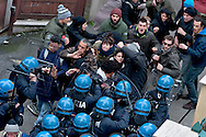 Rome, Italy. 16th February 2016<br /> Riot police charge the picket anti-eviction that seek to block the eviction of the Mrs. Ida with her husband who have barricaded themselves in the house to resist the eviction, to Centocelle district.