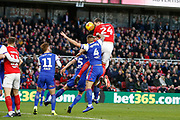 Middlesbrough defender Aden Flint (24) heads towards goal during the EFL Sky Bet Championship match between Middlesbrough and Ipswich Town at the Riverside Stadium, Middlesbrough, England on 29 December 2018.