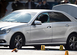 © Licensed to London News Pictures. 13/04/2019. London, UK. A car with a smashed window in Holland Park after shots were fired by police near the Ukrainian embassy. Photo credit: Peter Macdiarmid/LNP