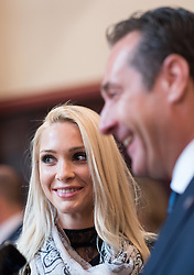 06.04.2016, Palais Ferstel, Wien, AUT, FPÖ, Festakt anlässlich 60 Jahre Freiheitlich Partei Österreich. im Bild Klubobmann FPÖ Heinz-Christian Strache mit seiner Freundin Philippa Beck // Leader of the parliamentary group FPOe Heinz Christian Strache and his girlfriend Philippa Beck during ceremonial act according to 60 years of the austrian freedom party in austria. Vienna, Austria on 2016/04/06. EXPA Pictures © 2016, PhotoCredit: EXPA/ Michael Gruber