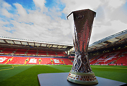 LIVERPOOL, ENGLAND - Thursday, April 14, 2016: The UEFA Cup trophy arrives at Anfield ahead of the UEFA Europa League Quarter-Final 2nd Leg match between Liverpool and Borussia Dortmund at Anfield. (Pic by David Rawcliffe/Propaganda)