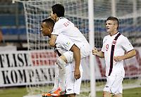 Fotball<br /> VM-kvalifisering<br /> 16.10.2012<br /> Kypros v Norge 1:3<br /> Foto: Savvides/Digitalsport<br /> NORWAY ONLY<br /> <br /> L-R: Joshua King - Tarik Elyounoussi og Valon Berisha feirer scoring for Norge