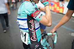 Omer Shapira (ISR) of Giusfredi Bianchi Cycling Team cools down after Stage 8 of the Giro Rosa - a 141.8 km road race, between Baronissi and Centola fraz. Palinuro on July 7, 2017, in Salerno, Italy. (Photo by Balint Hamvas/Velofocus.com)