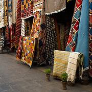 Rugs for sale in a medina in Casablanca, Morocco on 7 September 2013.